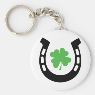 Good Luck Horseshoe Cloverleaf - Shamrock Key Ring