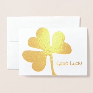 Good Luck! | Irish Shamrock Gold Foil Card