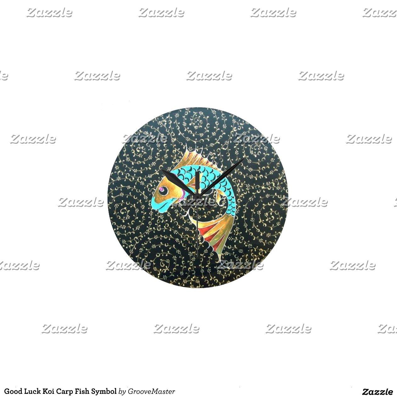 Good luck koi carp fish symbol wall clocks zazzle for Koi fish representation