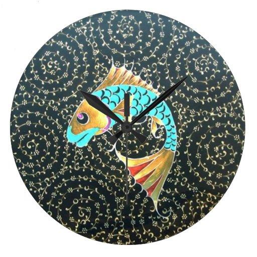 Good luck koi carp fish symbol wall clocks zazzle for Koi fish good luck