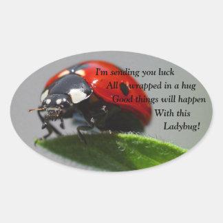 Good Luck Ladybug Oval Stickers