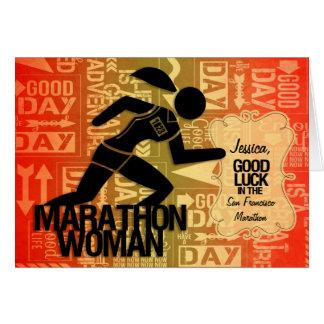 Good Luck Marathon Woman Sports Theme Custom Greeting Card