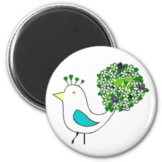 Good Luck Peacock 6 Cm Round Magnet
