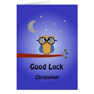 Good Luck personalized clever night owl Card