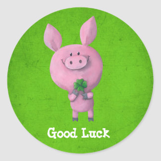 Good Luck Pig Classic Round Sticker