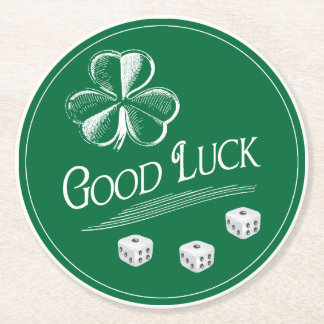 Good Luck Shamrock Bunco March Theme Round Paper Coaster