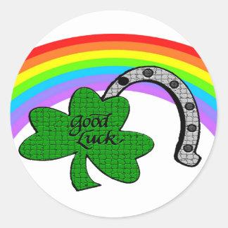 Good Luck Shamrock, Rainbow and Horseshoe Round Sticker