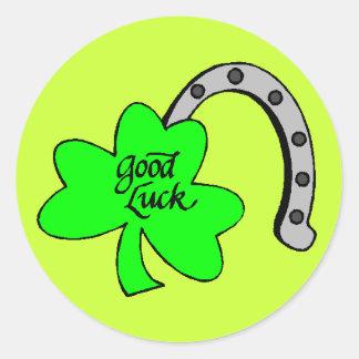 Good Luck Shamrock stickers Round Sticker