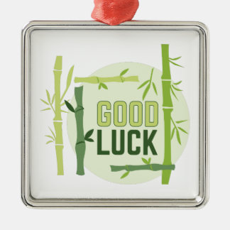 Good Luck Silver-Colored Square Decoration