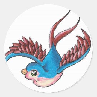 Good Luck Sparrow Round Sticker