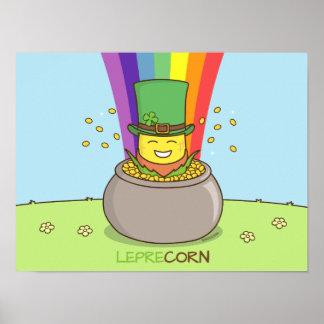 Good luck St. Patrick's Day Leprechaun Corn Gift Poster