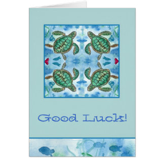 Good Luck Turtles Ocean Sea Creatures Fish Art Card