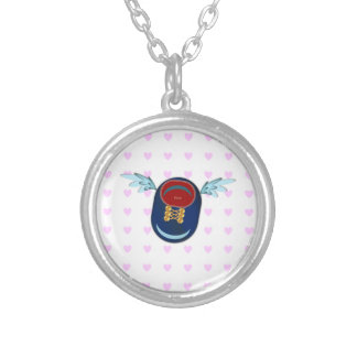 Good luck winged shoe silver plated necklace