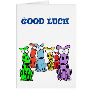 Good Luck with cartoon dogs Greeting Card
