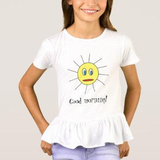 Good morning Cute Sun Face Drawing Design Girls T-Shirt