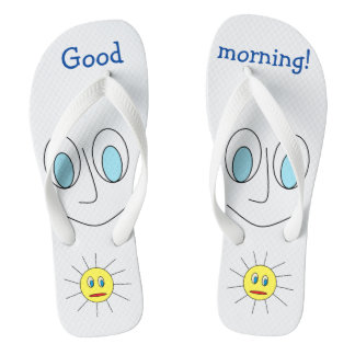 Good morning Fun Smiley Face and Sun Design Thongs