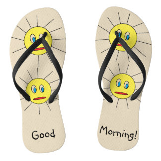 Good Morning Fun Yellow Sun Faces Drawing Design Thongs