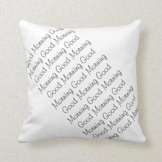 Good Morning / Good Night , Black & White, 2 Sided Cushion