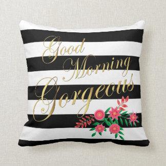 Good Morning Gorgeous | Black & White Gold Letters Throw Pillow