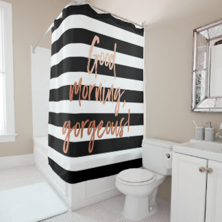 Good Morning Gorgeous Rose Gold Stripe Shower Curtain