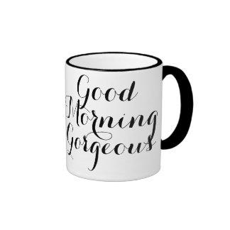 Good Morning Gorgeous with Black/White Typography Ringer Mug
