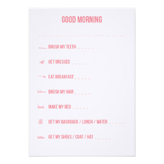 Good Morning Routine Checklist Pink Announcements