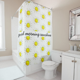Good Morning Sunshine! Cute; yellow on white Shower Curtain