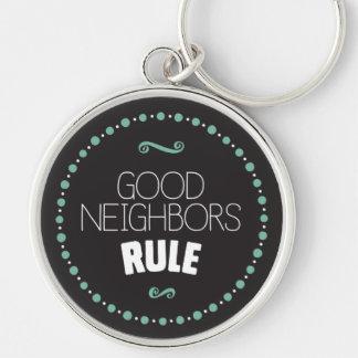 Good Neighbors Rule Keychain – Black