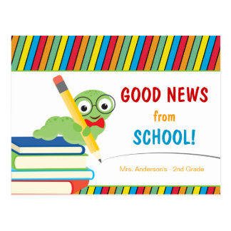 Good News From School with Bookworm Postcard