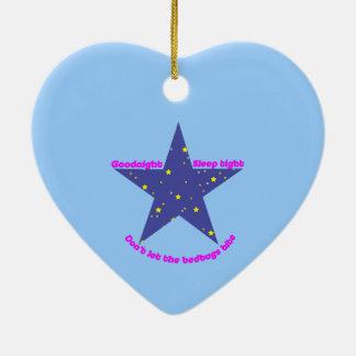 Good Night Sleep Tight Star - blue background Ceramic Ornament
