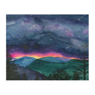 Good Night Smokey Moutians Wood Print