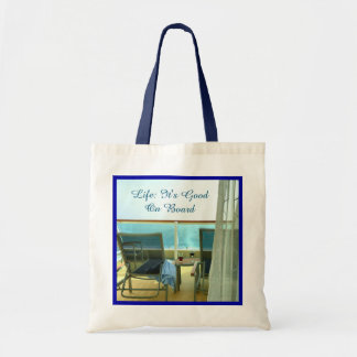 Good On Board Blue Border Budget Tote Bag
