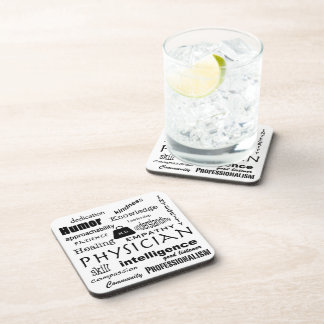 Good Physician Qualities-Word Cloud Drink Coaster
