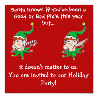 Good Pixie Bad Pixie Party invitation