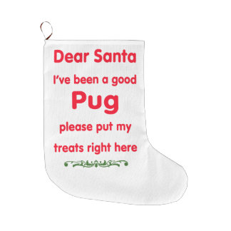 good pug large christmas stocking