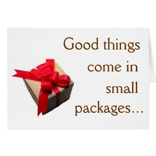good things come in small packages note card zazzle. Black Bedroom Furniture Sets. Home Design Ideas