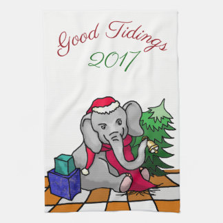 Good Tidings with Year Christmas Elephant Tea Towel