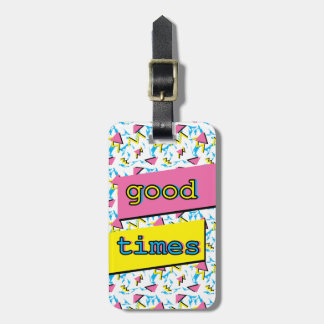Good Times Retro Pattern Custom Luggage Tag