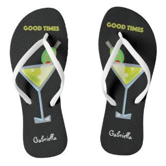 Good Times Summer Cool Green Martini Flip Flops