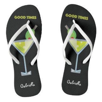 Good Times Summer Cool Green Martini Flip Flops Thongs