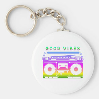 Good Vibes 80's Style Key Ring