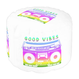 Good Vibes 80's Style Pouf