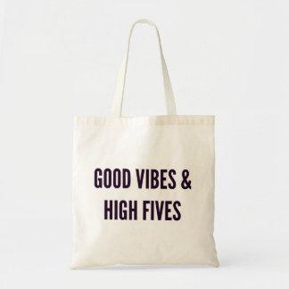 Good vibes and high fives funny Christmas Tote Bag