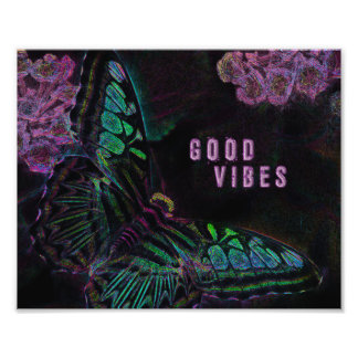 Good Vibes Electric Butterfly Photo Print