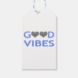 Good vibes - heart - black and blue. gift tags