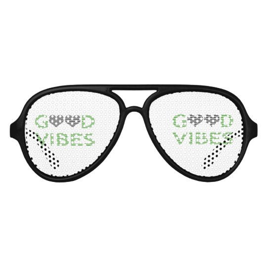 Good vibes - heart - black and green. aviator sunglasses