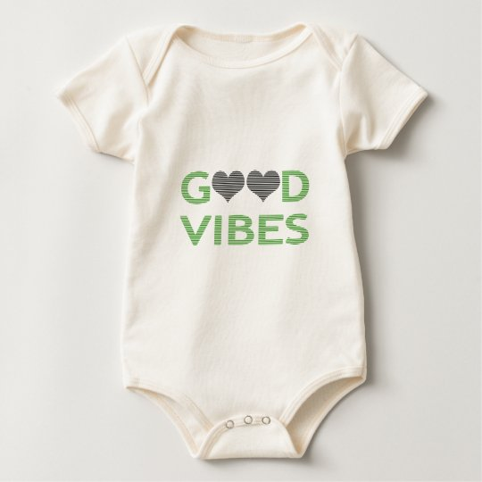 Good vibes - heart - black and green. baby bodysuit