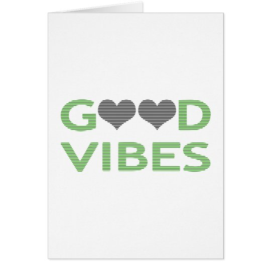 Good vibes - heart - black and green. card