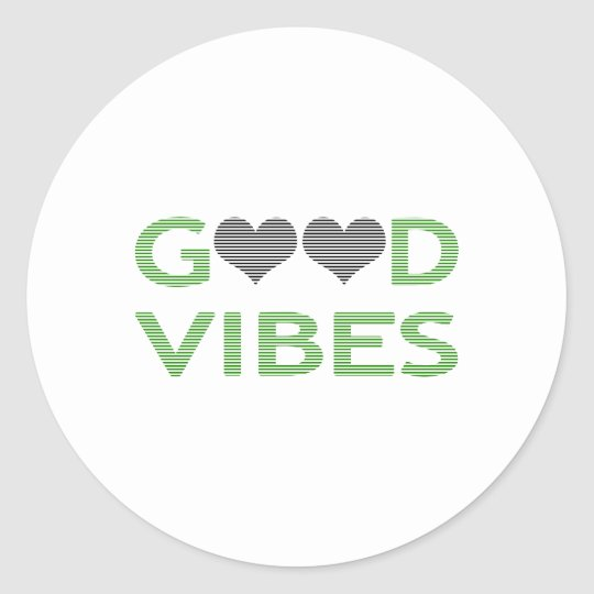 Good vibes - heart - black and green. classic round sticker
