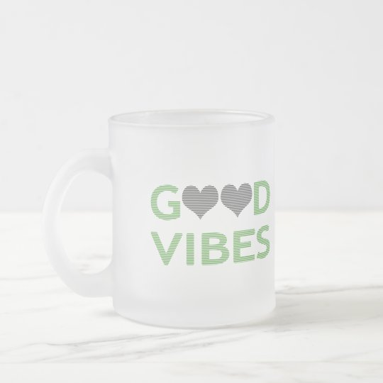 Good vibes - heart - black and green. frosted glass coffee mug